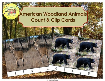 American Woodland Animals Count and Clip Task Cards