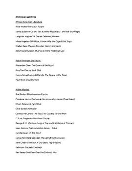 American Writers list