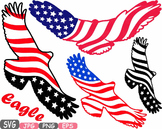 American flag Eagle Military independence day 4th of July Clipart birds USA 474s