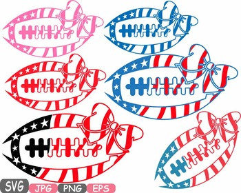 American flag Football Bow Sports Silhouette clipart shirt 4th of July -481s