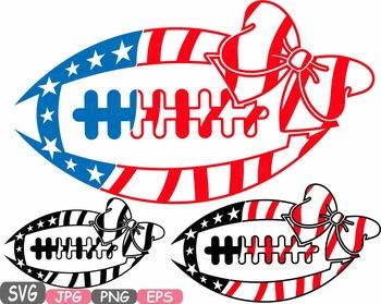 American flag Football Bow Sports Silhouette clipart shirt