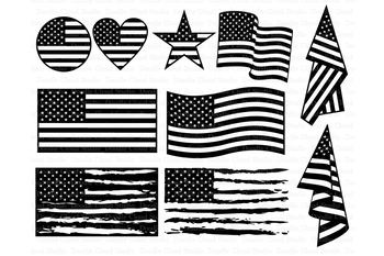 American flag silhouette. Svg distressed usa files