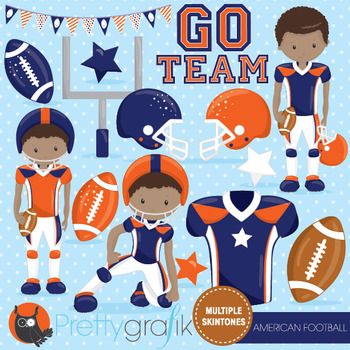 American football clipart commercial use, vector graphics, digital  - CL1009
