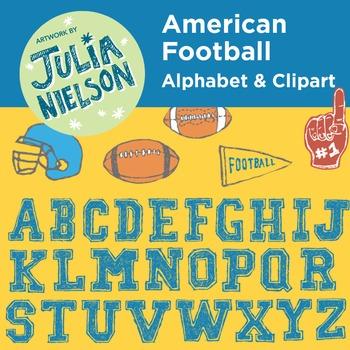 American football alphabet and clipart set