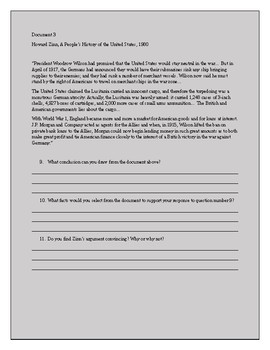 American in World War 1, Unrestricted Submarine Warfare Stimulus Based Questions