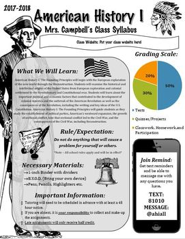 American or U.S. History Syllabus (Graphic/Visual Style) - EDITABLE!