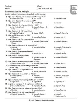 American versus Mexican Holidays Spanish Multiple Choice Exam