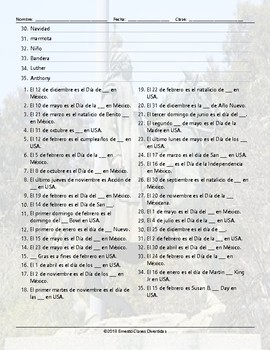 American versus Mexican Holidays Translating Spanish Worksheet