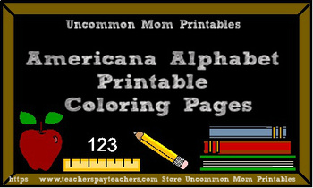 Americana Alphabet Printable Coloring Pages