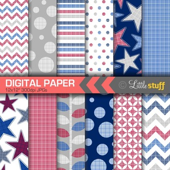 Americana Digital Paper, Stars and Stripes Paper Pack, Red White Blue