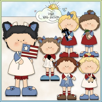 Americana Girls Clip Art - Patriotic Clip Art - July 4 - CU Clip Art & B&W
