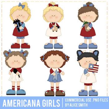 Americana Girls Clip Art Graphics by Alice Smith