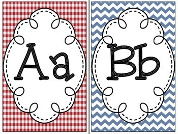 Americana Theme Alphabet Line