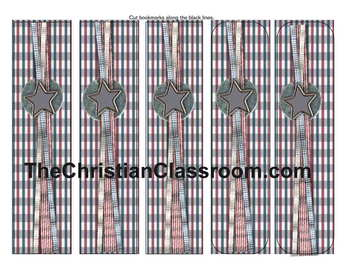 Americana Theme Bookmarks with Patriotic Ribbon and Star
