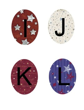 Americana Theme Bulletin Board Letters Red White Blue and Patriotic Letters