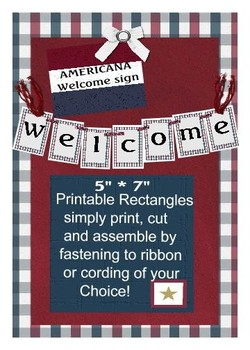 Americana Theme Cut and String Together Welcome Banner
