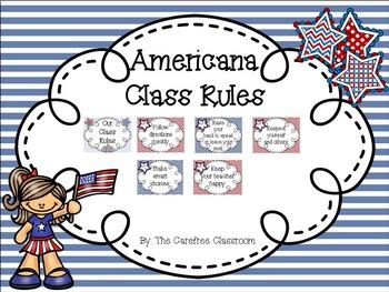 Class Rules: Americana Themed EDITABLE