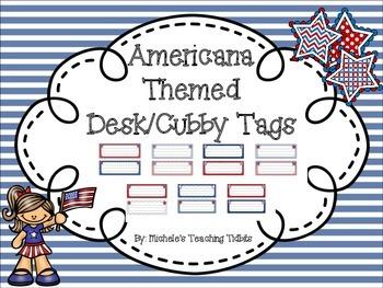 Americana Themed Desk Tags