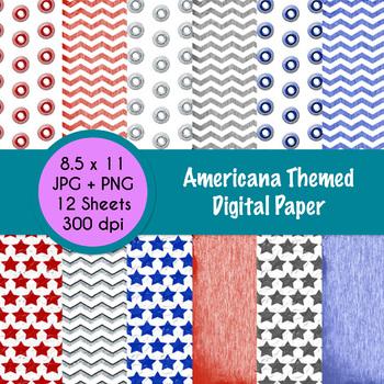 Americana Themed Digital Paper