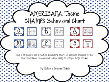 CHAMPS Behavioral Chart: Americana Themed EDITABLE