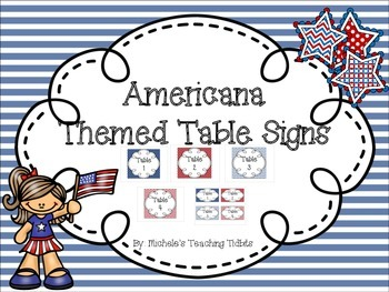 Americana Themed Table Signs
