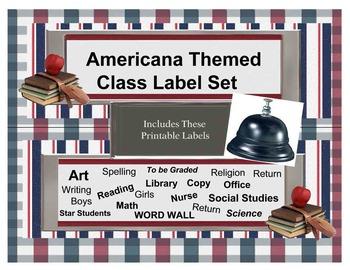 Americana Themed Word Wall, Classroom Subject, hall passes