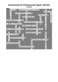 Americanah - Vocabulary Crossword Puzzle
