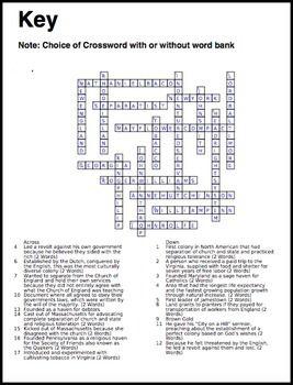 Americans Colonies Crossword Puzzle - 17 Terms+Key