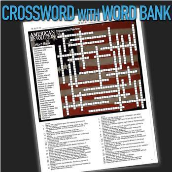 American Revolution Crossword Puzzle - 34 Terms+Key