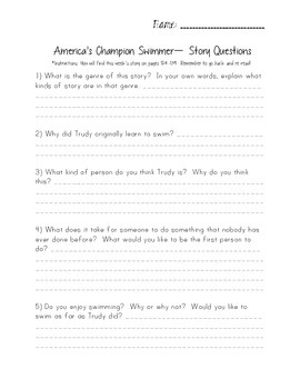 America's Champion Swimmer - Reading Street 3.4.4 Packet