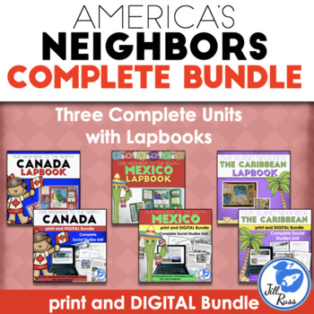 America's Neighbors: Canada, Mexico, & Caribbean Unit and Lapbook Bundle