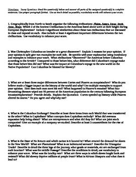 Exploration Unit Test / Exam / Assessment (World History) Americas & Exploration