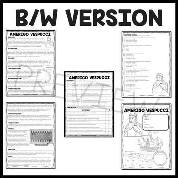 Amerigo Vespucci, Age of Exploration article, questions, Spanish, Portuguese