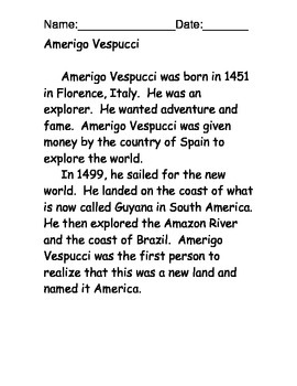 Amerigo Vespucci Reading Comprehension