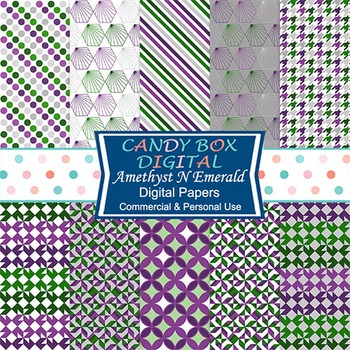 Amethyst N Emerald Digital Papers, Purple, Green - Commercial Use OK