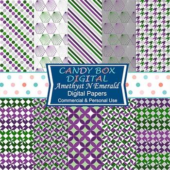 Amethyst N Emerald Digital Papers, Purple, Green - Commercial Use OK