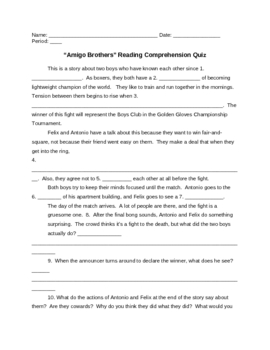"""Amigo Brothers"" Reading Comprehension Quiz Plus Answers"