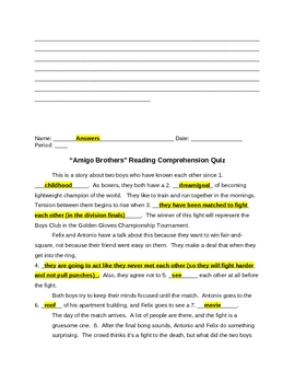 """Amigo Brothers"" Reading Comprehension Quiz Plus Answers ..."