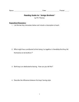 """Amigo Brothers"" Reading Guide Advanced"