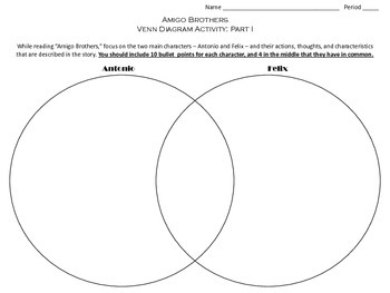 Amigo Brothers Venn Diagram Activity