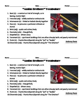 Amigo Brothers Vocabulary List & Quiz
