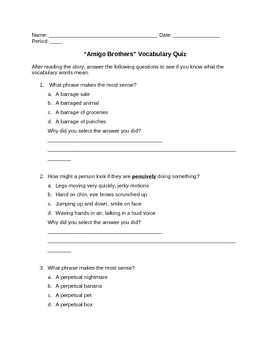 """Amigo Brothers"" Vocabulary Quiz Plus Answers by Teacher ..."