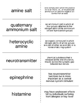 Amines and Amides Vocabulary Flash Cards for Organic Chemistry