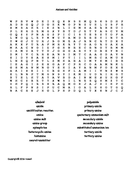 Amines and Amides Vocabulary Word Search for Organic Chemistry