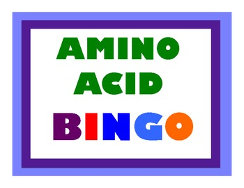 Amino Acid Bingo, Codon Bingo, Transcription and Translation Activity