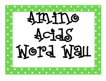 Amino Acid Word Wall
