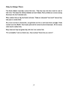 Amish Non-Fiction Passage & Questions - Standard-Aligned RI.1, RI.6