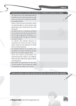'Amélie' Photocopiable Workbook (Advanced Level Activities)