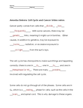 Amoeba Sisters Cell Cycle And Cancer Video Notes By Edwards Science
