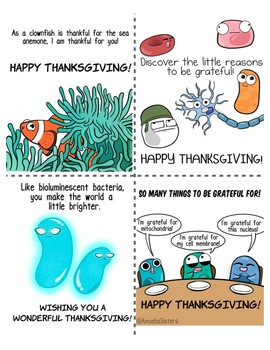 Amoeba Sisters Thanksgiving Cards (Science Themed)